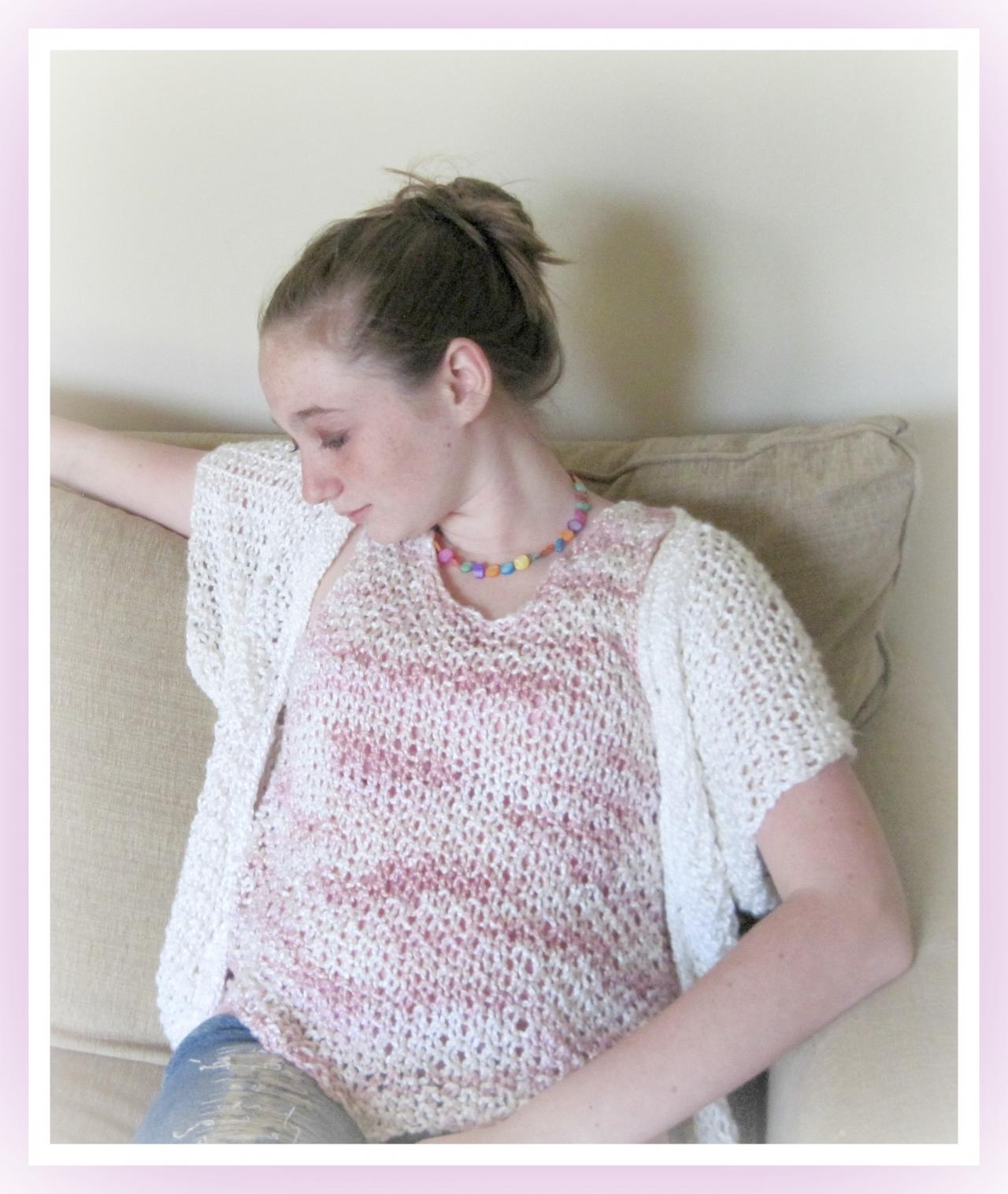 Bamboo Shell and Bolero Teen to Adult Knitting Pattern S M L