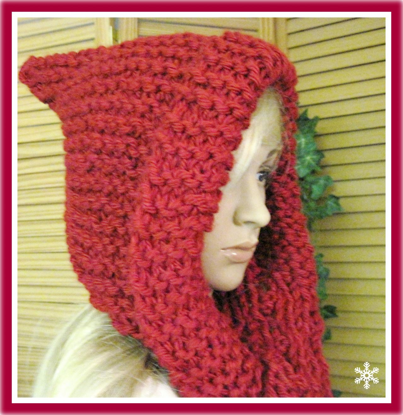 Little Red Riding Hood Hooded Scarf In Bulky Yarn Knitting Pattern