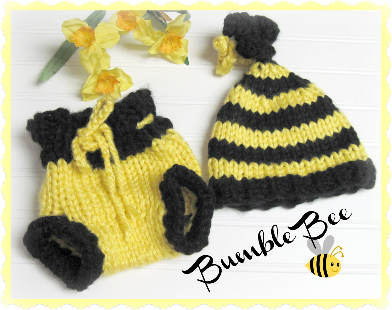 Bumble Bee Hat And Diaper Cover Patterns For Newborn Knitted On Luulla