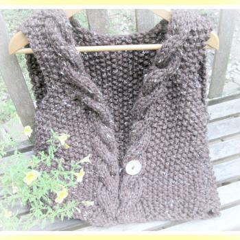 Cable Edged Vest Knitting Pattern for Teen to Adult