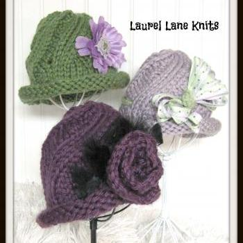 Swirl Cloche Flapper Bucket Hat in Bulky Yarn Knitting Pattern Sized Child Teen and Adult